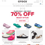 70% off Selected Styles + Free Shipping (Today Only) @ Crocs