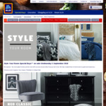 ALDI Style Your Room Special Buys (Wed 5/9): Chest of 6 Drawers $149; Velvet Slipper Chair $100; Assorted Rugs $50