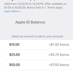 Bonus 15% iTunes Credit When You Add Funds Directly to Your Apple ID, Max Bonus Credit $30