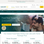 Suncorp Fixed Rate Home Loan 3yrs P&I Owner Occ 3.49% (CR 4.25%), I/O Investment 3.69% (CR 4.5%) + $1,000 Refinance CB @Cape Fin