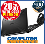 """ASUS FX505 15.6"""" AMD Ryzen 5 Notebook 8GB + GTX 1650 $1,039.20 (+$100 Cashback + Headset on Redemption) @ Computer Alliance eBay"""