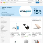 [eBay Plus] 15% off Eligible Items at Selected Sellers ($120 Min Spend, $200 Max Discount) @ eBay