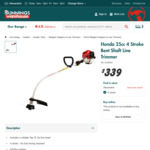 [VIC] Honda 25cc 4 Stroke Bent Shaft Line Trimmer/ Whipper Snipper (UMS425U) $269 @ Bunnings Warehouse
