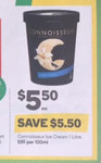 ½ Price Connoisseur Ice Cream Tubs 1L $5.50 @ Woolworths