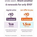 6x 28-Day amaysim Renewals of 1.5GB Unlimited Plan $10 @ amaysim