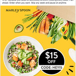 $15 off @ Marley Spoon (Includes Existing Customers)