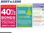 40% off All Bonds Underwear, Socks and Baby Clothing - Thursday 8th December Only