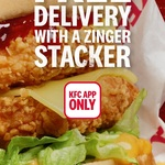 Free KFC Delivery with a Zinger Stacker Burger Purchase @ KFC App