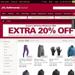 Extra 20% off Clearance Items KATHMANDU Thermals, Camping Beds etc Long Weekend Only