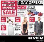 Myer Stocktake 1 Day Offers