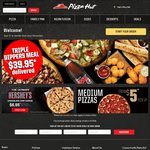 3 Large Pizzas & 3 Sides Delivered for $35 @ Pizza Hut