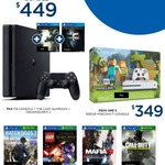 PS4 1TB Slim + Last Guardian + Dishonored 2 $449 / Xbox One S Minecraft Console Bundle $349 @ Big W