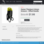 Osmer Titanium 216mm Offset Handle Scissors - $7.95 + Free Delivery - The Office Shoppe