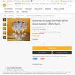 Bohemia Crystal Sheffield Wine Glasses 6pcs Set $69 (Shipping from $8) @ Mega Boutique