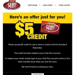 $5 Credit for Use Until 4/11 @ Supercheap Auto (Club Plus Members)