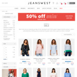 Jeanswest 50% off All Sale Items. Free Delivery with $75 Minimum Spend