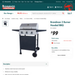 Brandman 3 Burner Hooded BBQ $99 (Was $149) @ Bunnings