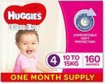 [Prime] Huggies Ultra Dry Nappies Size 4 Toddler Girls 160 Pack $37.77 Delivered (Subscribe & Save) @ Amazon AU