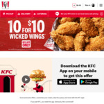 10 Wicked Wings for $10 (App Only, excl SA) @ KFC