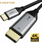 Cabletime USB-C to DisplayPort Cable 1m US$10.18 (~A$12.83), 1.8m US$11.48 (~A$14.47) Delivered @ Lancom Cable Store AliExpress