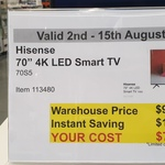 "Hisense 70S5 70"" 4K LED Smart TV $779.98 @ Costco (Membership Required)"