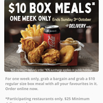 $10 Box Meal Specials (Delivery only, Min $25 Spend) @ Red Rooster via App/Website