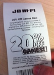 20% off Games Coupon @ JB HIFI When You Spend over $50 on Gaming Gear