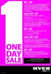 Myer 1 Day Sale - up to 40 % off on Selected Categories