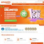 30% off Amaysim Unlimited and 1G Additional Data for 3 Month