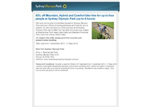 50 Off Bike Hire At Sydney Olympic Park Up To 4 Hours From 5 An Hour