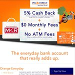 """ING Orange Everyday - 5% Cashback on """"Contactless"""" Purchases < $100 for 6 Months (New Customers) @ ING Direct"""