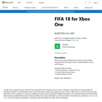 [XB1] FIFA 18 (Pre Order) $79.95 ($71.95 for Students & Teachers) Delivered from Microsoft Store