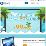 """T-Bao Tbook X7 2/32GB BayTrail CPU 14.1"""" Laptop $99USD/ $130AUD or $170AUD with shipping - GeekBuying.com"""