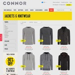 30% off All Jackets and Knitwear at Connor (Includes Sale Items)