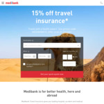 Medibank Travel Insurance 15% off