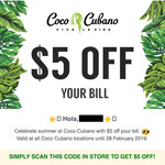 (Possibly Targeted - NSW/QLD/WA) Coco Cubano $5 off (No Minimum Spend)