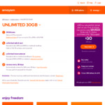 28-Day Unlimited Plan 30GB: Unlimited National and International (10 Countries) $10 @ amaysim