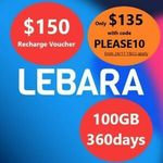 Lebara Mobile 360 Days 100GB Data Prepaid Recharge Voucher SIM Card $135 Delivered @ Bring Brightness eBay