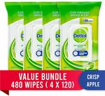 Dettol Antibacterial Disinfectant Wipes Crisp Apple 480 (120x4) Pack $17.10 + Delivery ($0 with Prime/ $39 Spend) @ Amazon AU