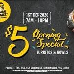 [VIC] $5 Burritos & Burrito Bowls, 1/12 @ Guzman Y Gomez (Kennington)