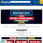 Boxing Day: 15% Fans & Outdoor Lights + 30% Clearance Outlet + 50% Super Deals + 10% Storewide + Bonus Gifts @ JD Lighting