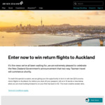 Win Return Economy Flights to Auckland for 2 Worth Up to $2,200 from Air New Zealand