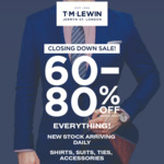 [VIC] 60-80% off T.M Lewin Closing Down Sale: All Shirts 4 for $100 In-Store Only @ T.M Lewin (Melbourne)