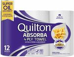 Quilton Absorba 4 Ply Paper Towel Rolls, Pack of 12 $8.99 ($8.09 Sub & Save) + Delivery ($0 with Prime/ $39 Spend) @ Amazon AU