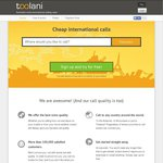 $5 FREE Credit from Toolani (Cheap International Calls, Available on Android & iOS)