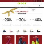 1 Pair 20% off, 2 Pairs 30% off, 3+ Pairs 40% off (Including Clearance) @ Crocs