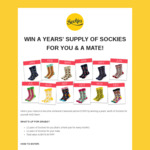 Win a Years' Supply of Socks for You and a Friend from Sockies