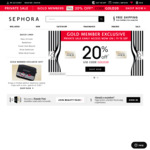 20% off for Black and Gold Members with Code @ Sephora