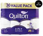 Quilton 3 Ply Toilet Tissue (180 Sheets Per Roll, 11x10cm) 36 Pack $14.99 ($0.42 Per Roll) @ ALDI