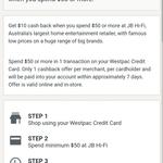 Get $10 Cashback on $50 Spend @ JB Hi-Fi for Westpac Cardholders